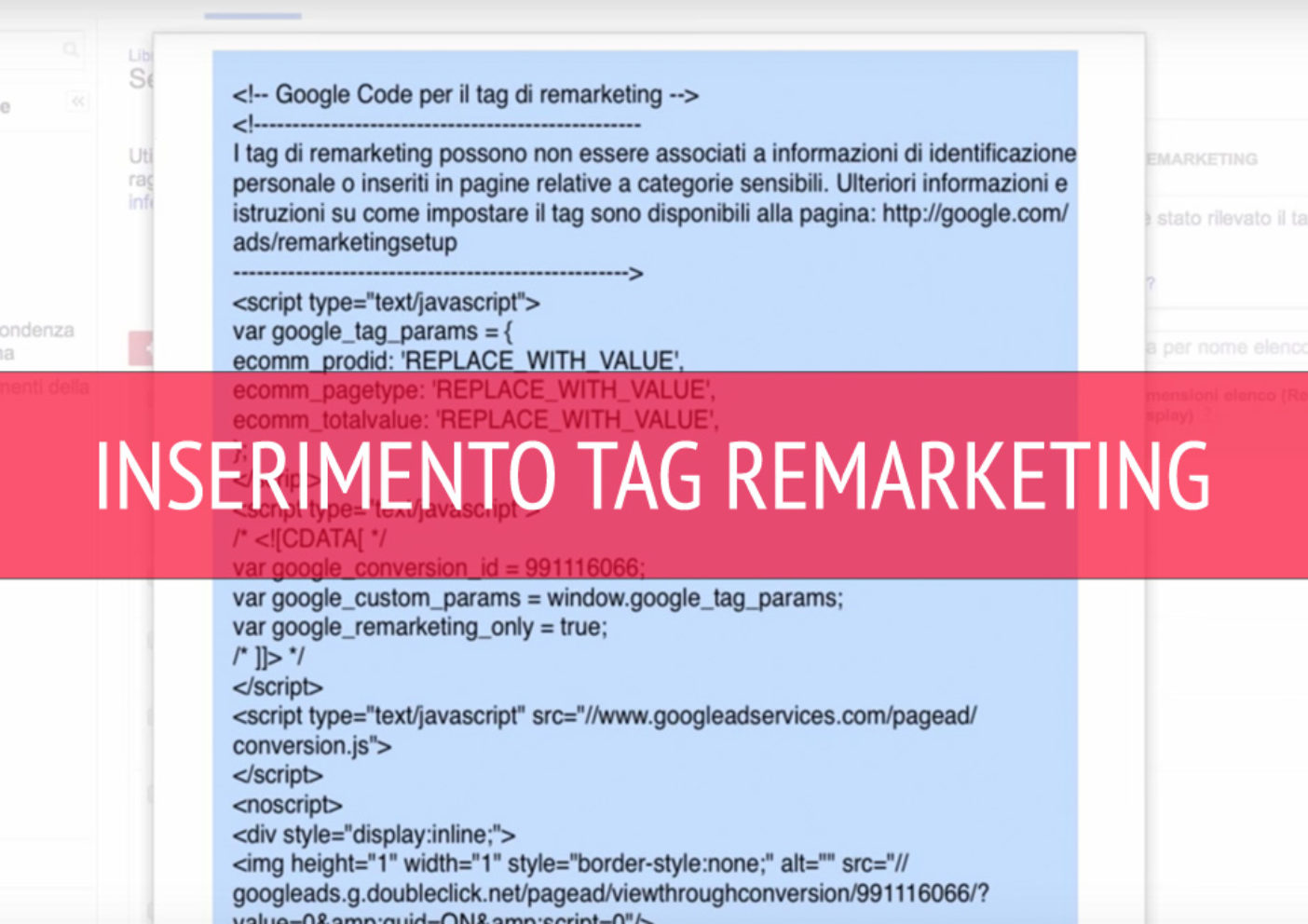 tag remarketing, Tag Remarketing di Google ADS, inserimento e codifica