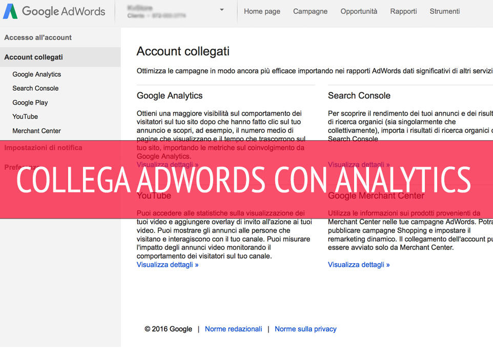 collegare google analytics a google adwords