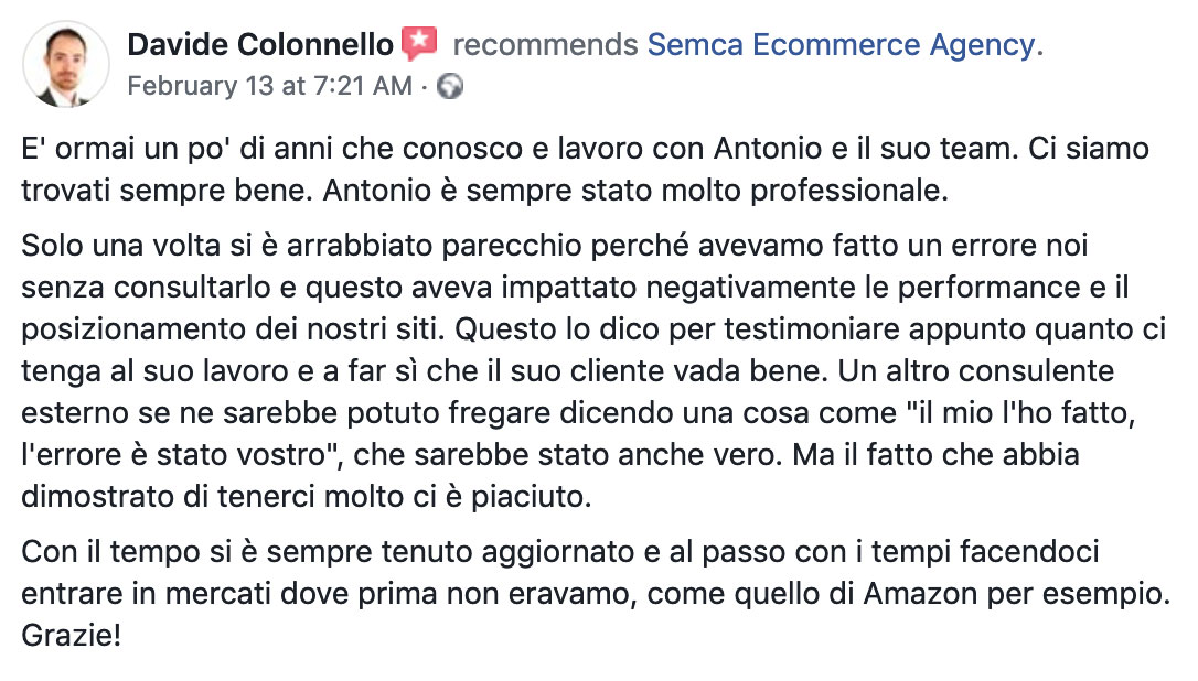 recensione clienti digital marketing consulenza