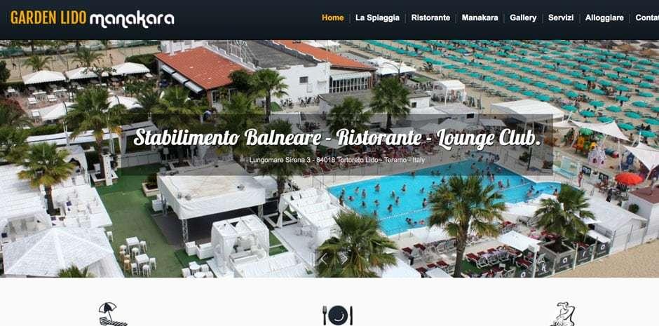 creazione sito stabilimennto balneare e ristorante